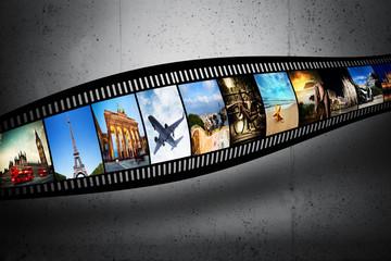 Film strip with vibrant photographs. Travel theme
