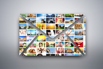 A letter, e-mail design element. Pictures of people, places