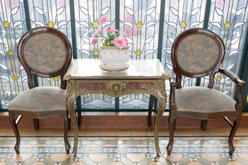 classic antique table and chairs