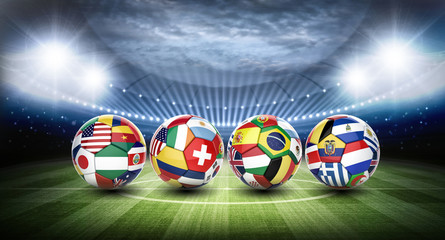 3d soccer ball with nations team's flags