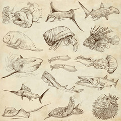Underwater 2 - hand drawings on old paper