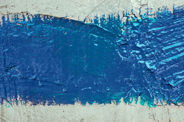 strip of blue paint on the wall