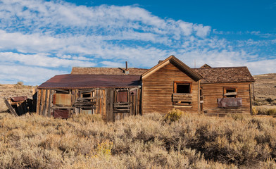 Old crooked house in Bodie ghost town