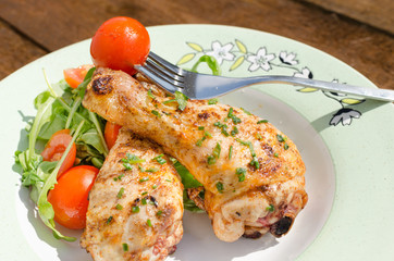 Grilled chicken drumstick with vegetable