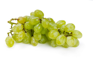 Green grapes in water drops
