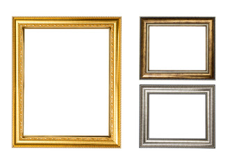 Golden wood frame on white background