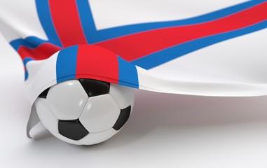 Faroe islands flag with championship soccer ball