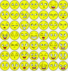49 facial expressions set - emoticon style