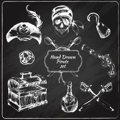 Pirates chalkboard icons set
