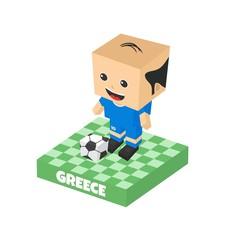 soccer block isometric cartoon character