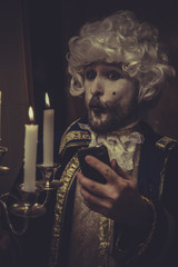 Selfie, funny man with white wig and candlestick nineteenth cent