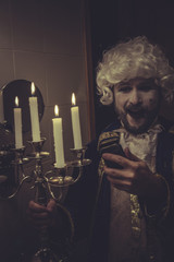 Fun Selfie, man with white wig nineteenth and candlestick with c