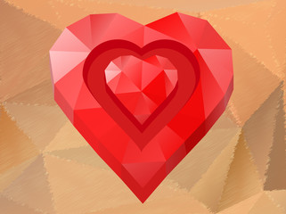 Polygon red heart