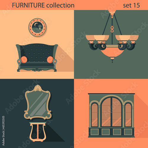 Creative Furniture Icons Set Flat Design Modern Living Room
