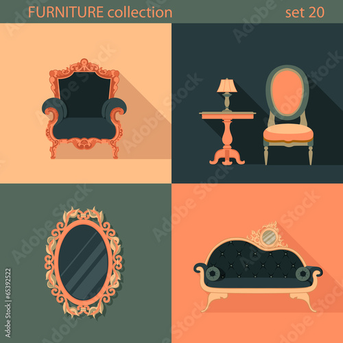 creative furniture icons set flat design. Creative Design Flat Longshadow Classic Furniture Icons Set Creative H