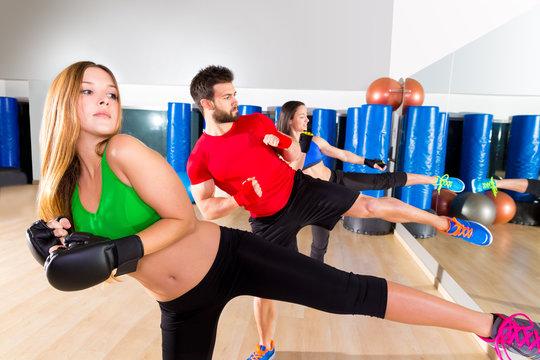 Boxing aerobox group low kick training at gym