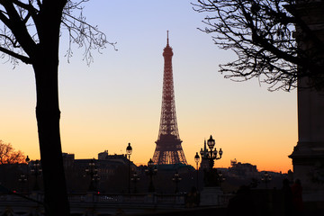View on Eiffel Tower in the evening, Paris, France