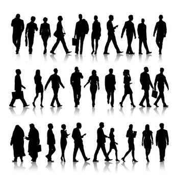 Silhouette Of Business People Commuting