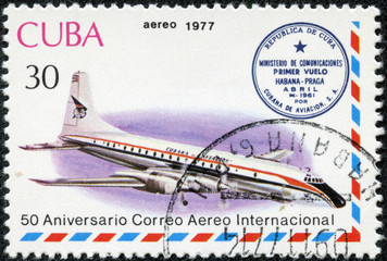 stamp printed in Cuba shows aircraft JL 14
