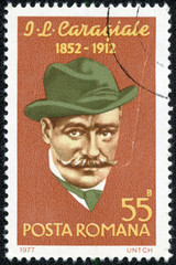 stamp printed by Romania, show Ion Luca Caragiale