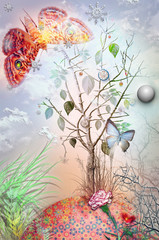 Printed roller blinds Imagination Garden of eden series