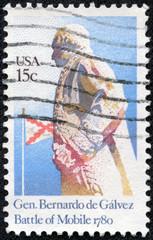 stamp printed in USA shows image of Gen Bernardo De Galvez
