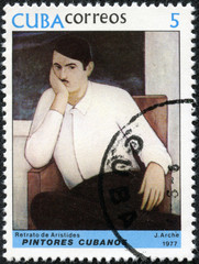stamp printed in Cuba shows the Portrait of Aristides