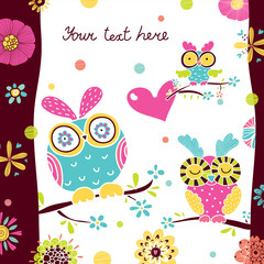 Postcard with cute owls.