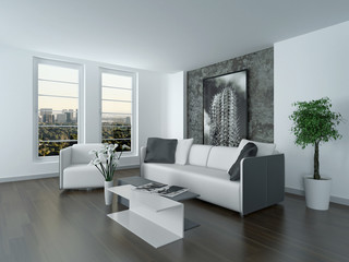 Modern grey and white sitting room interior
