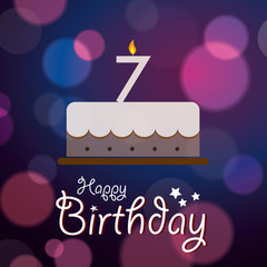 Happy 7th Birthday - Bokeh Vector Background with cake
