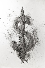 Dollar sign made of ash