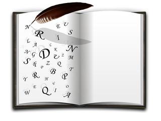 Buch mit Buchstaben und Schreibfeder