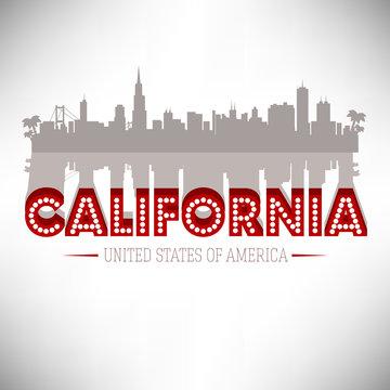 California skyline silhouette vector design