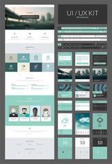 One page website design template, ux/ui kit for website design