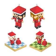 christmas block isometric cartoon character