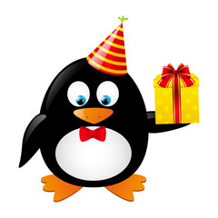 Funny penguin with gift box