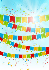 Party flags on sunny sky background