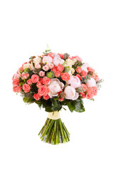 bouquet of roses and peonies, isolated over white background