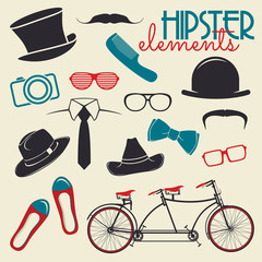 Hipster style elements and icons