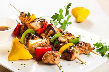 meat and vegetable kebabs