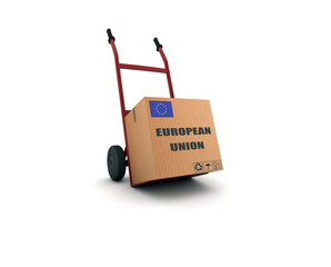 european union - scatolone su carrello