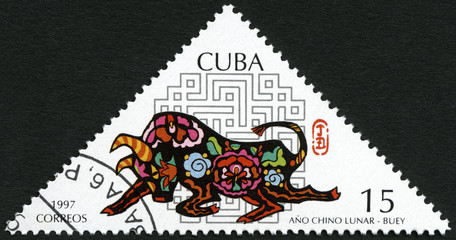 CUBA - 1997: shows Ox, dedicated New Year 1997 (Year of the Ox)