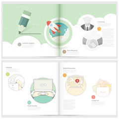Brochure design template for business with concept icons