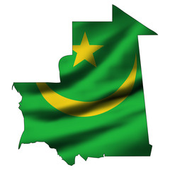 Illustration with waving flag inside map - Mauritania