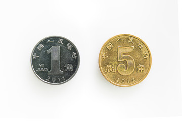 Front of Isolated Coin for 1 and 5 Jiao in Chaina