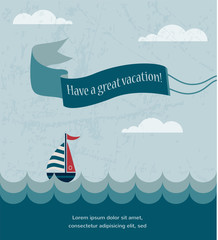 retro summer poster, with wavy sea and boat
