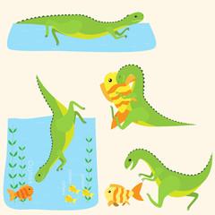 Dinosaurs and fish. Vector set