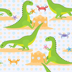 Dinosaurs on a beach. Vector pattern
