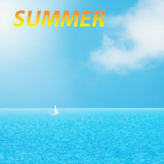 Typographic Design -Summer,  yacht and blue water ocean