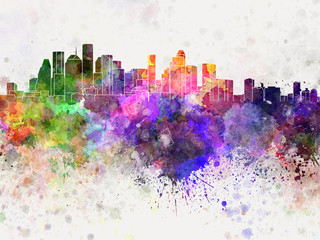 Fotomurales - Houston skyline in watercolor background